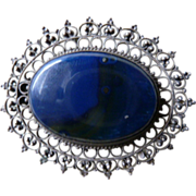 Large Filigree Blue Stone Sterling SilverBrooch