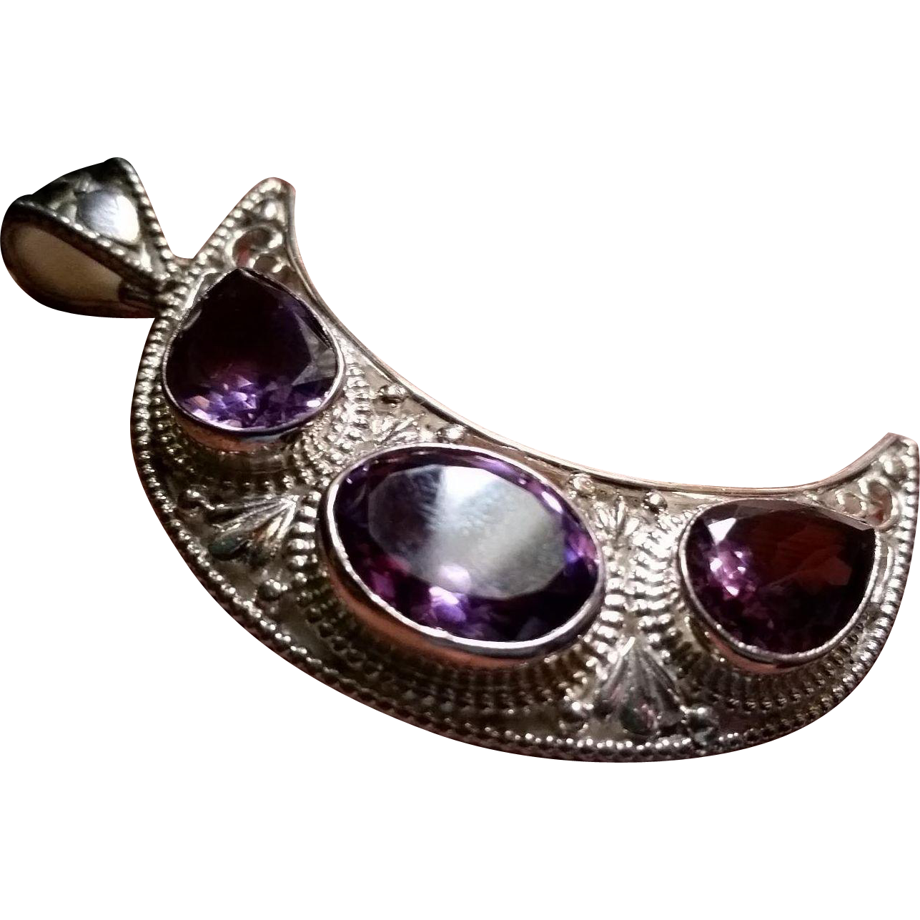 Large Sterling Silver & Amethyst Cresent Pendent