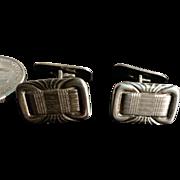 835 Silver Cufflinks Belted Fabric Design