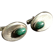 Mid-Century Malachite & Silver Cufflinks