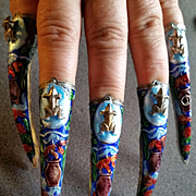 Chinese Enameled Fingernail Guards w/ Frogs