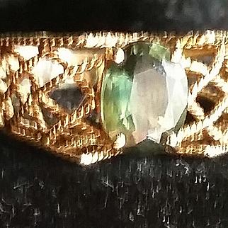 14k Yellow Gold Basket Weave Green Stone Ring