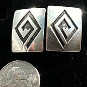 Sterling Silver Overlay Hopi Cuff Links Toggle Back