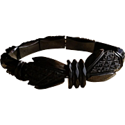 Victorian Carved Whitby Jet Stretch Bracelet
