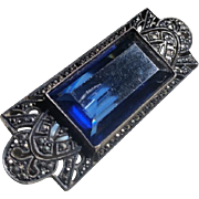 Art Deco Sterling Marcasite Blue Crystal Pin Brooch