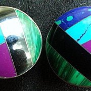 Sterling Mosaic Stone Inlay Clip Earrings