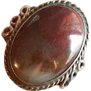 Petrified Wood & Sterling Silver Ring Navajo