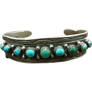 Harvey Era Row Bracelet Silver & Turquoise Coin