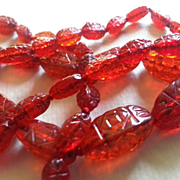 Red Czechoslovakian Bead Necklace