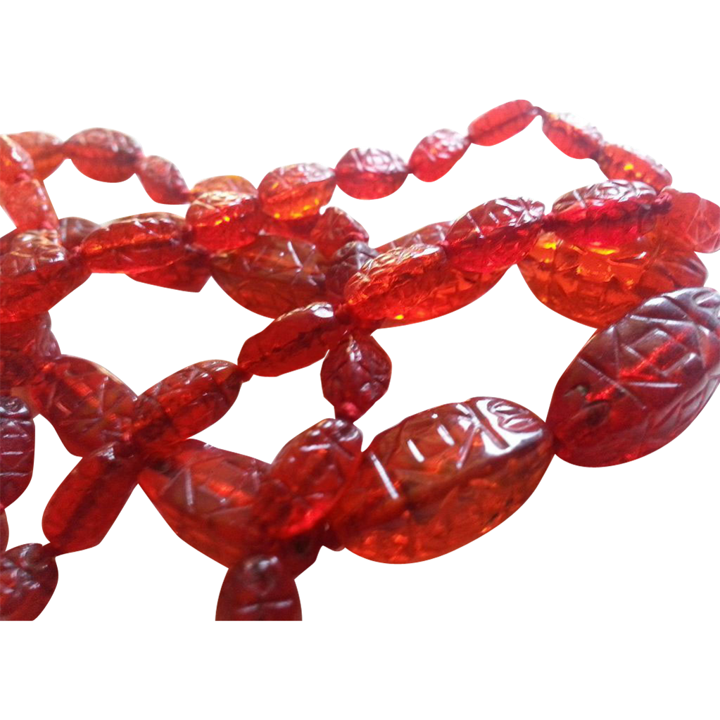 Red Czechoslovakian Bead Necklace