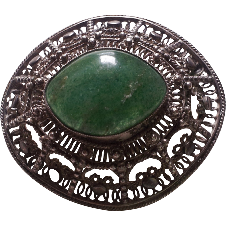 Sterling Silver Filigree Brooch / Pendant w/ Green Stone