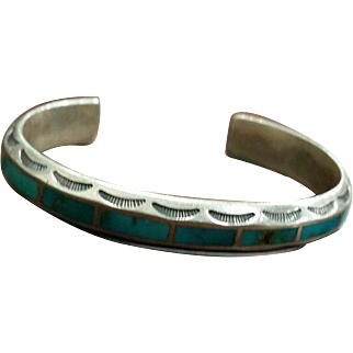 Silver & Turquoise Inlay Bracelet Great for Stacking
