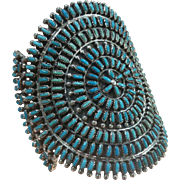 Turquoise & Silver Traditional Zuni Cluster Bracelet Design
