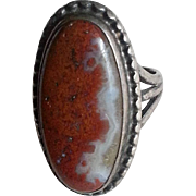 Petrified Wood Agate & Silver Navajo Ring