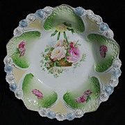 R.S. Prussia Bowl – Honeycomb Mold with Flower Basket