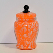 Bohemian Czech Glass Jar with Lid – Swirled Orange with Black Finial