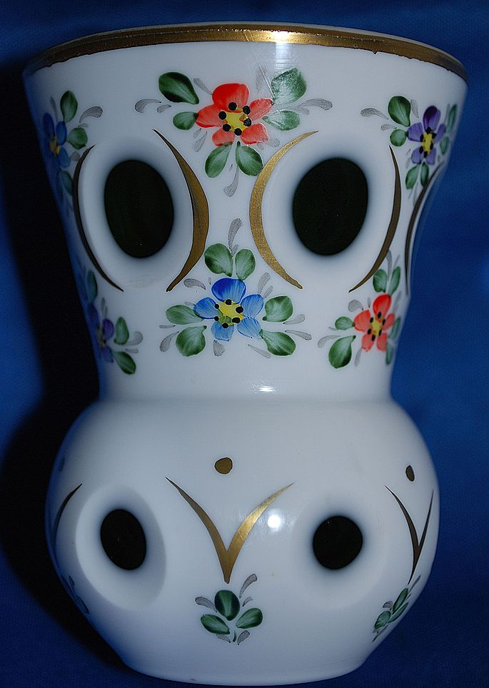 Small Bohemian Czech white cut to green vase