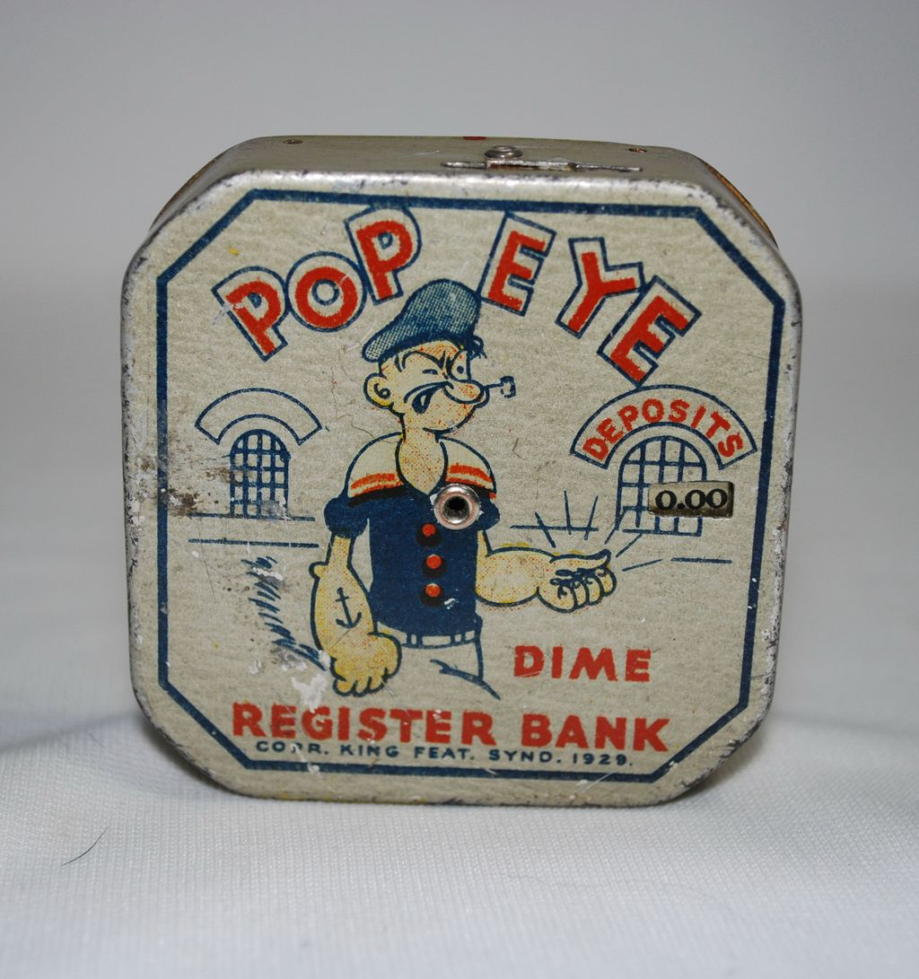 Popeye Dime Register Bank with Upside Down Pipe