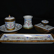 Hand painted porcelain desk set – inkwell, dish, blotter, pen holder