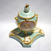 Late 19th century lady's inkwell with hand painted cherubs