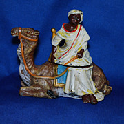 Cold painted figural inkwell - camel with Arab