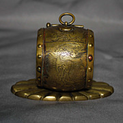 Chinese brass inkwell shaped like a drum