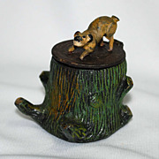 Figural cold painted pot metal inkwell – stump with dog