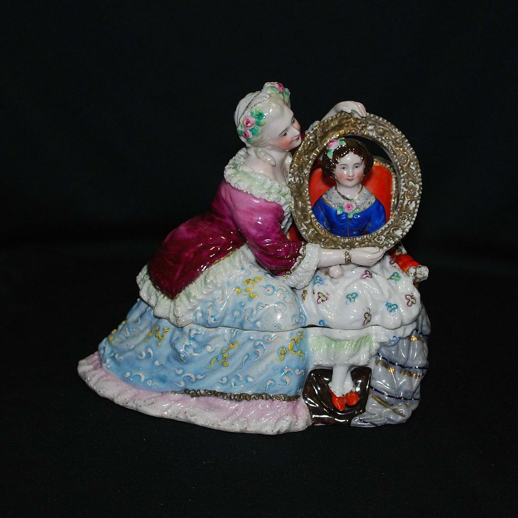 19th Century figural Porcelain inkwell – Mother and Daughter