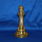 19th century brass figural inkwell -Light house with Thermometer