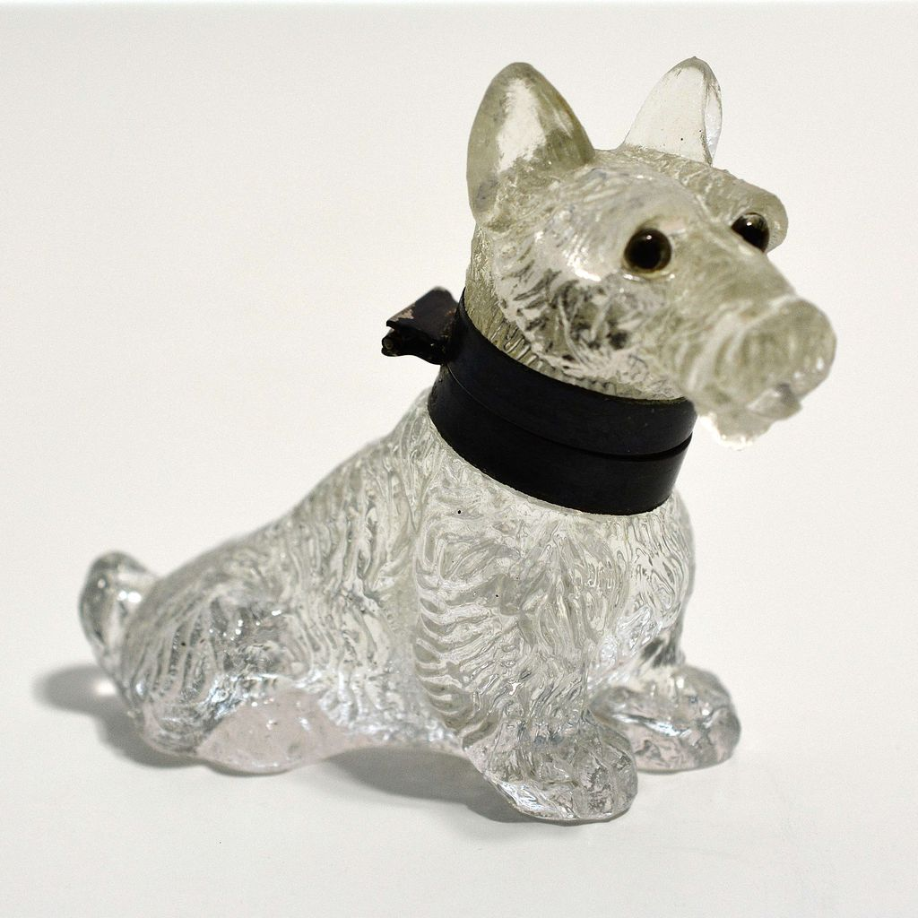Glass Scottie Dog inkwell made in Czechoslovakia