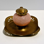 Bohemian Kralik draped pink Glass Inkwell with brass dish