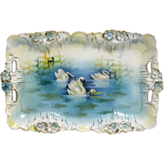 R.S. Prussia dresser tray – icicle mold with swan décor