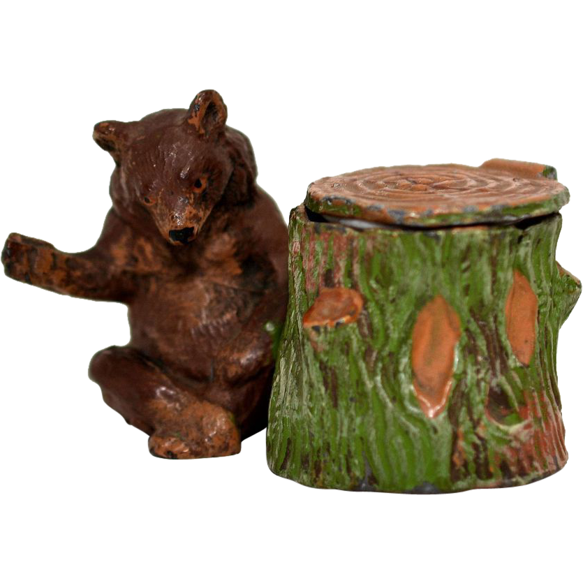 Figural Pot Metal Inkwell – Bear and Tree Stump