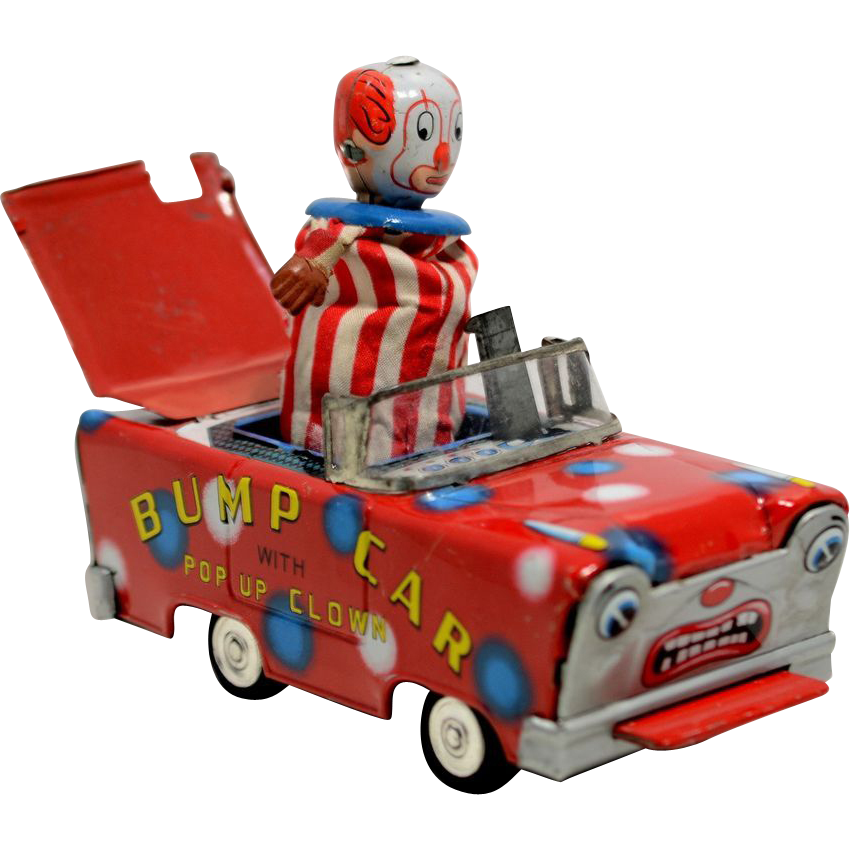 Wakasuto  Friction Tin Bump Car with Pop Up Clown
