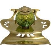 Bohemian Glass Inkwell with stand – Kralik
