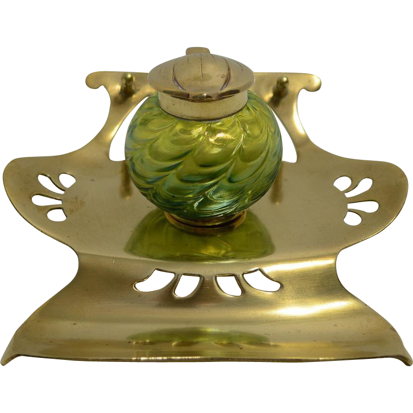 Bohemian Glass Inkwell with stand – Kralik