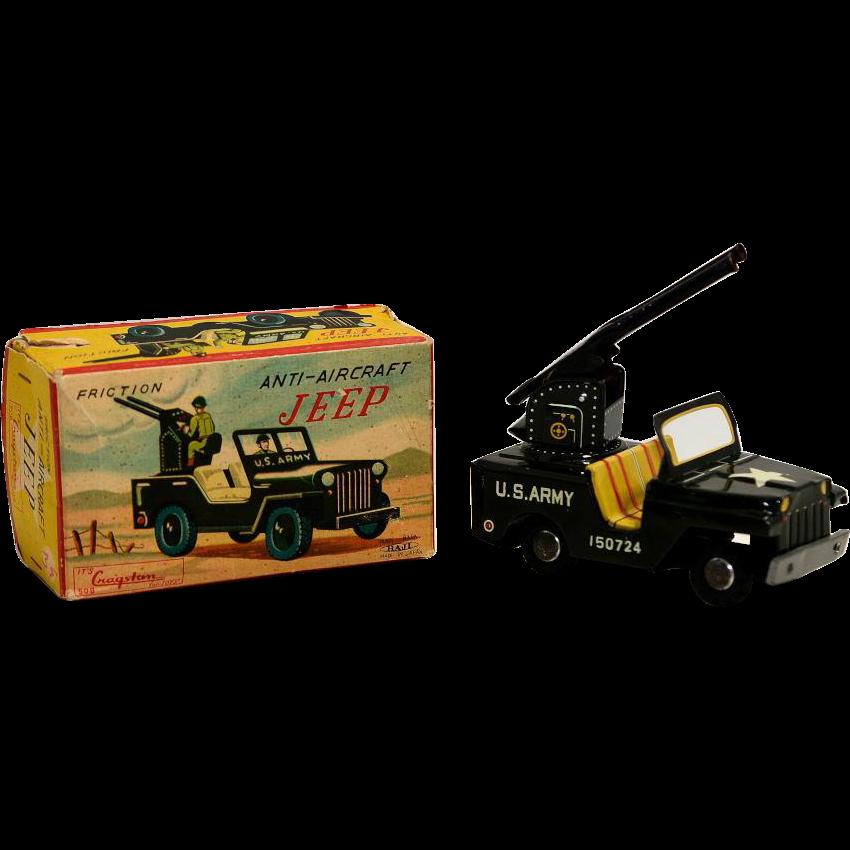 Haji Tin Friction Anti-Aircraft Friction Jeep with Box