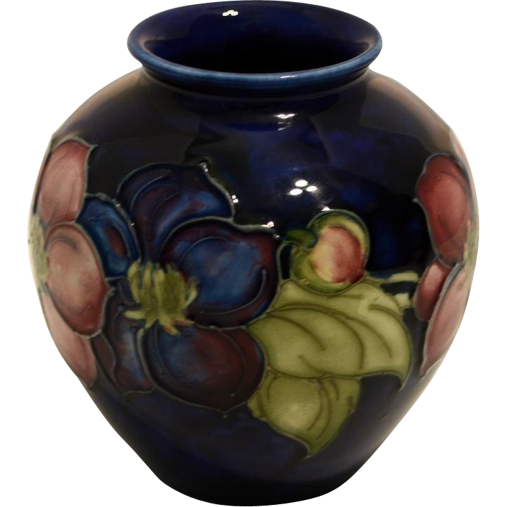 Vintage Moorcroft Vase Clematis Pattern Artful Toys And Antiques