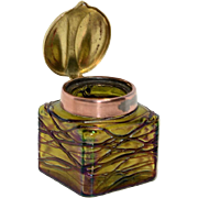 Iridescent Bohemian Threaded Glass Inkwell