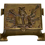 Brass Stamp Box with Owl and Book