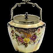 1906 Carlton Ware Blushware Biscuit Barrel Roses & Curlique Pattern