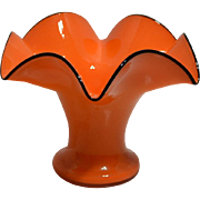 Bohemian Czechoslovakia Glass Vase – Tango Orange with Black Rim