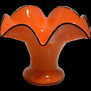 Bohemian Czechoslovakia Glass Vase – Tango Orange with Black Rim