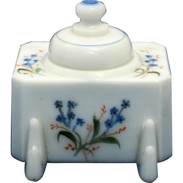Nineteenth Century Milk Glass Inkstand with Flowers