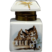 Porcelain Inkwell with Hand Painted Kittens