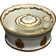 Porcelain Inkwell with Bee Motif signed Limoges