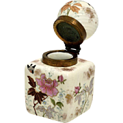 French Hand Painted Ceramic Inkwell