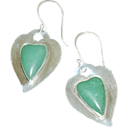 "Sterling Silver and Aventurine Heart Earrings: ""Spring Love"""