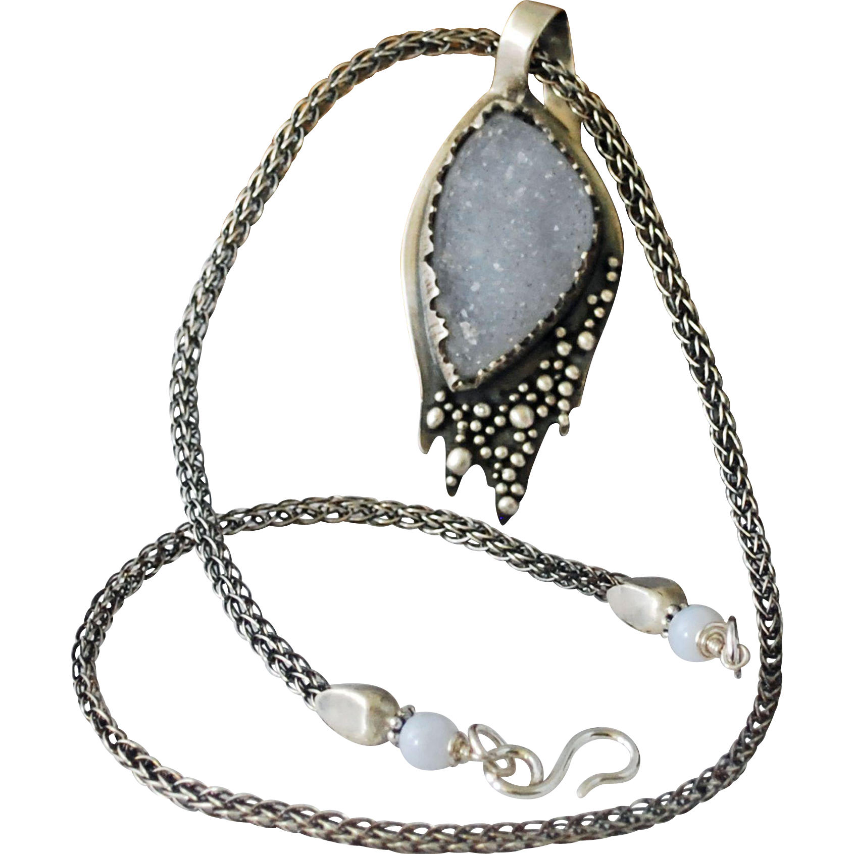 Blue Lace Agate Druzy Pendant, Drusy Sterling Silver Necklace