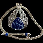 Lapis Lazuli Sterling Silver Pendant, Lapis Lazuli Necklace